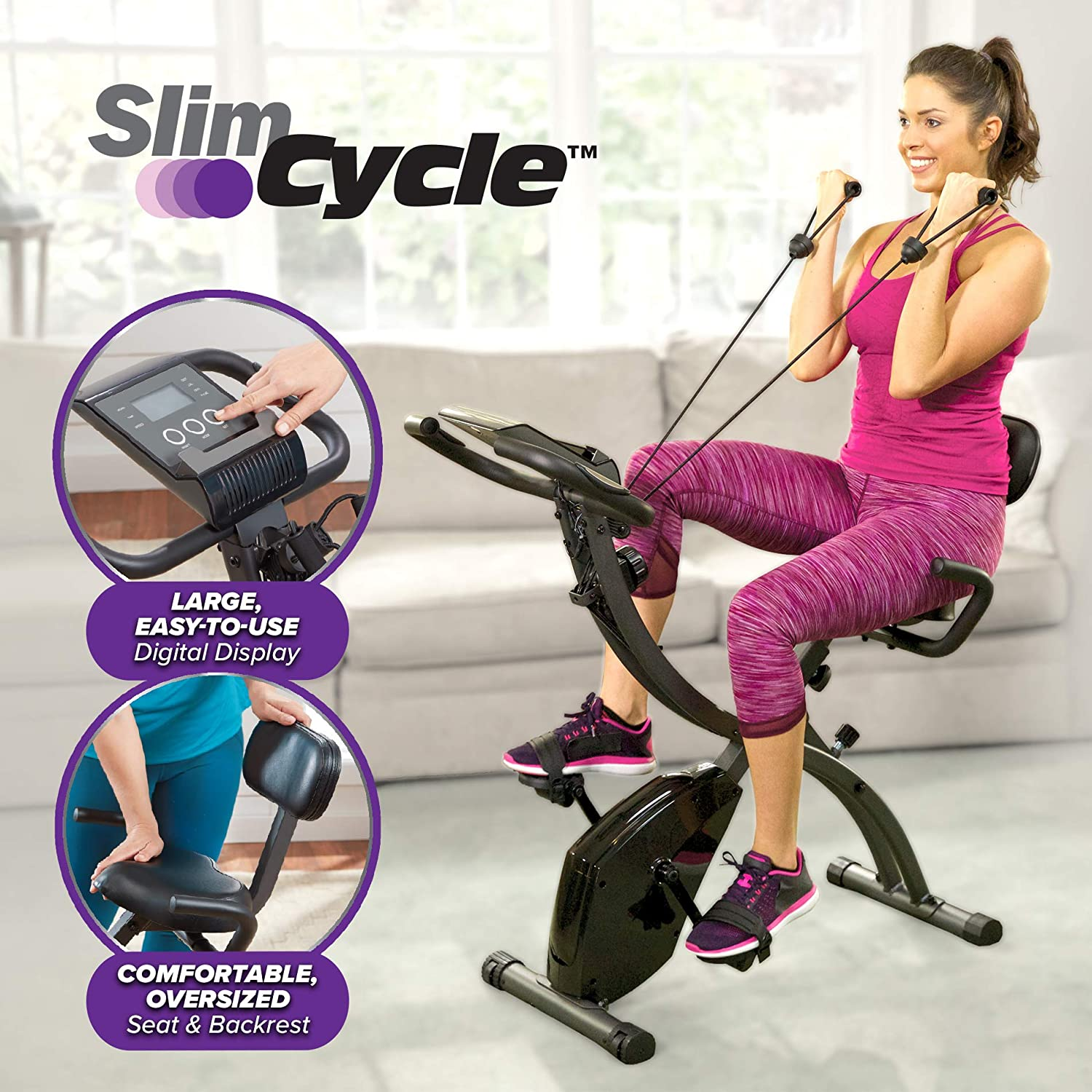 Amazon.com : Slim Cycle 2-in-1 Stationary Bike We LOVE this stationary bike on our boat. Perfect for keeping active while at anchor. It folds for easy storage and moving around, and has two positions – plus resistance bands.