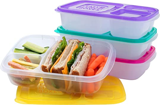 EasyLunchboxes - Bento Lunch Boxes - Reusable 3-Compartment Food Containers for School, Work, and Travel, Set of 4, Brights