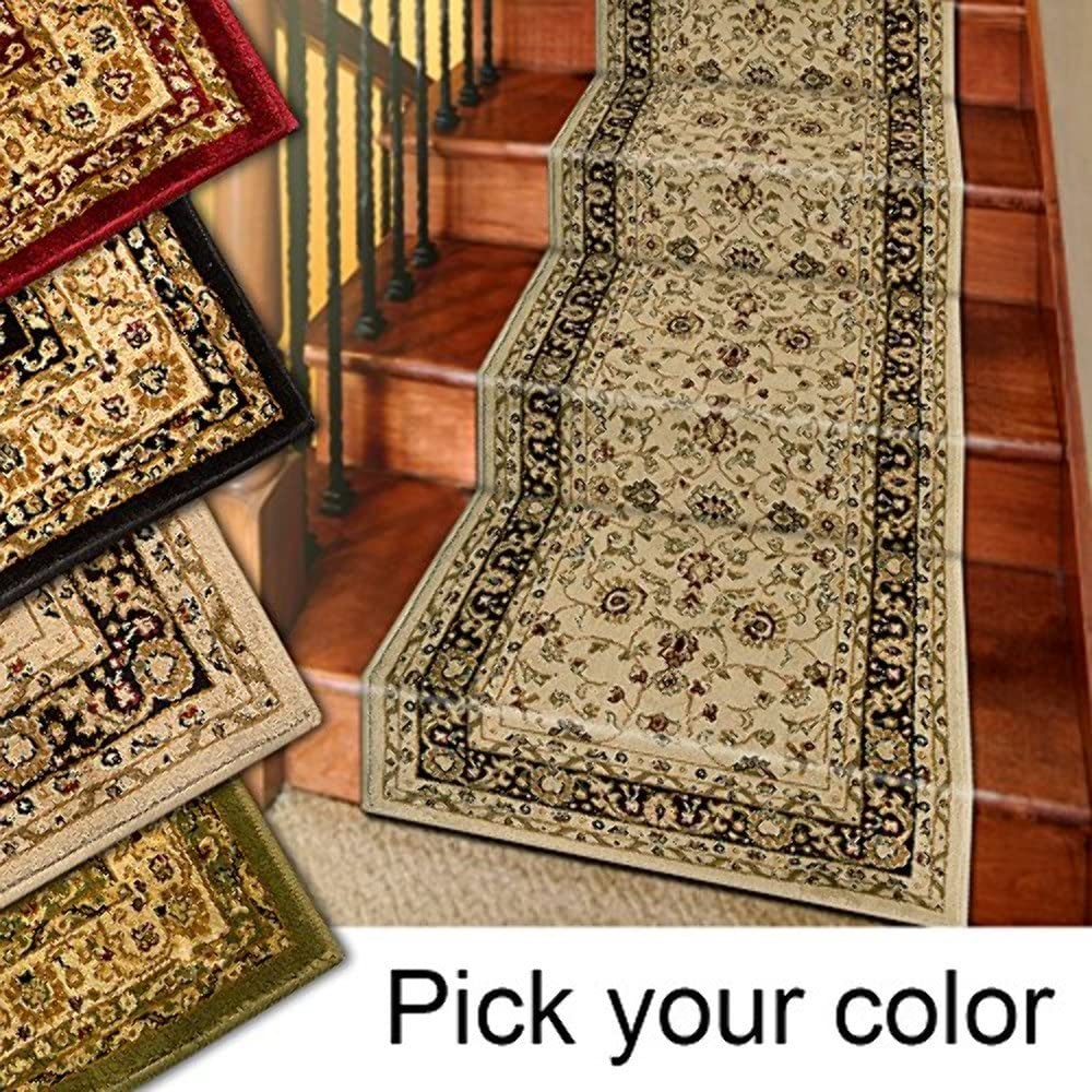 Amazon Com Marash Luxury Collection 25 Stair Runner Rugs Stair Carpet Runner With 336 000 Points Of Fabric Per Square Meter Ivory Kitchen Dining