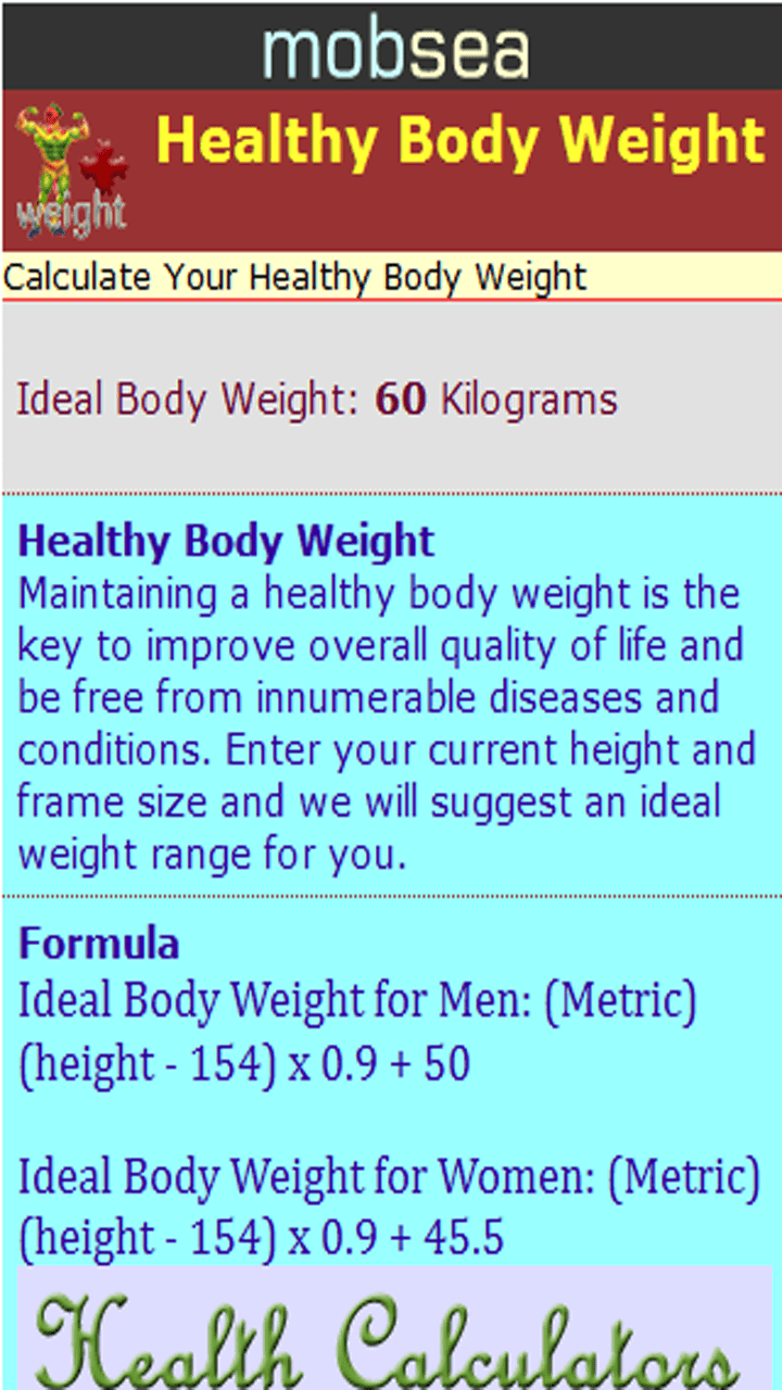 Calculate Ideal Weight Based On Frame Size | Amtframe org