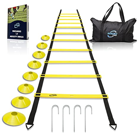 Image result for Invincible Fitness Agility Ladder Training Equipment Set, Improves Coordination, Speed, Explosive Power and Strength, Includes 8 Cones + 4 Hooks for Outdoor Workout
