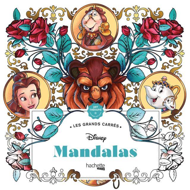 Les grands carrés Disney Mandalas: 12 coloriages anti-stress