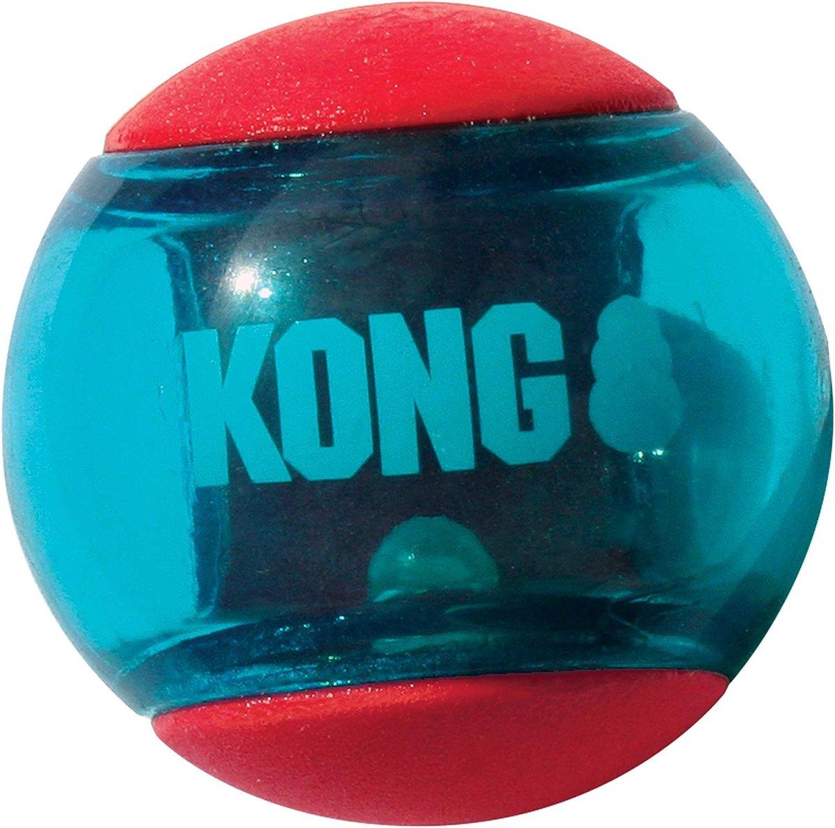 KONG - Squeezz Action Ball - Juguete sonoro para buscar con textura - Raza grande (rojo)