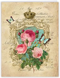 Amazon.com : Romance And Roses - Vintage Happy Mothers Day Card with  Envelope (Extra Large 8.5 x 11 Inch) - Elegant and Classic Roses Greeting  Card for Mom - Mothers Day Stationery
