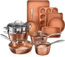 Gotham Steel Hammered Copper Collection – 15 Piece Premium Cookware & Bakeware Set with Nonstick Coating