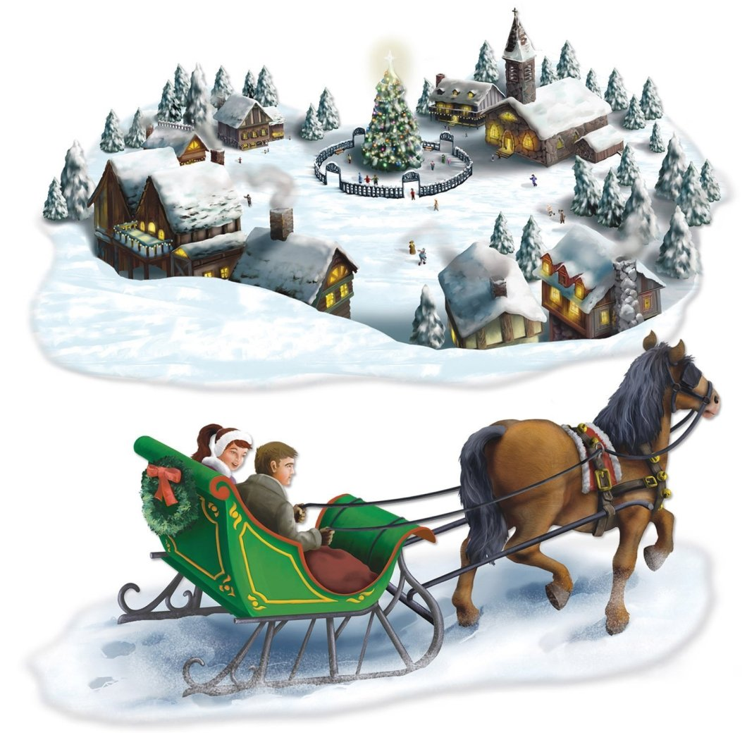 Com Holiday Village Sleigh Ride Props Party Accessory 1 Count 2 Pkg Kitchen Dining