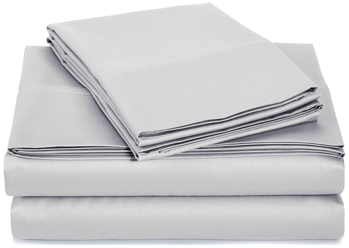 AmazonBasics 400 Thread Count Sheet Set, 100% Cotton, Sateen Finish - Queen, Stone Grey