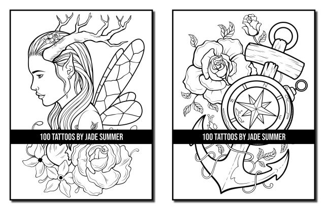 17 Tattoos: A Tattoo Coloring Book for Adults with Skulls