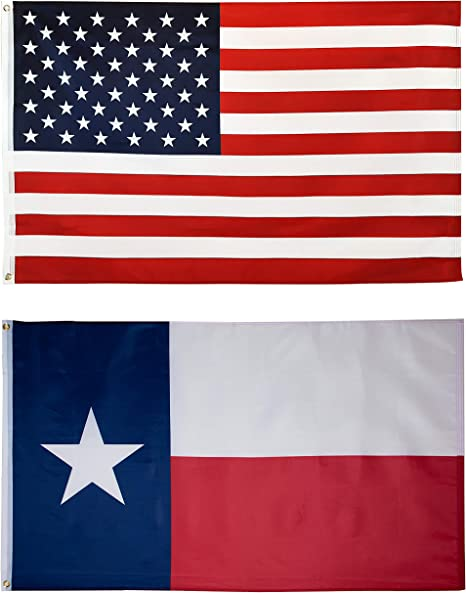 Amazon Com Mission Flags 3x5 Ft 2 Pack Us American And Texas State Polyester Flags Garden Outdoor