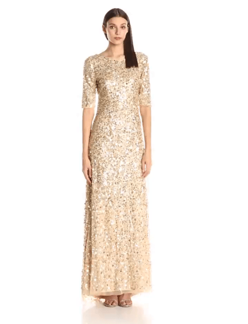 Adrianna Papell Women\'s 3/4 Sleeve Sequin Beaded Mermaid Gown ...