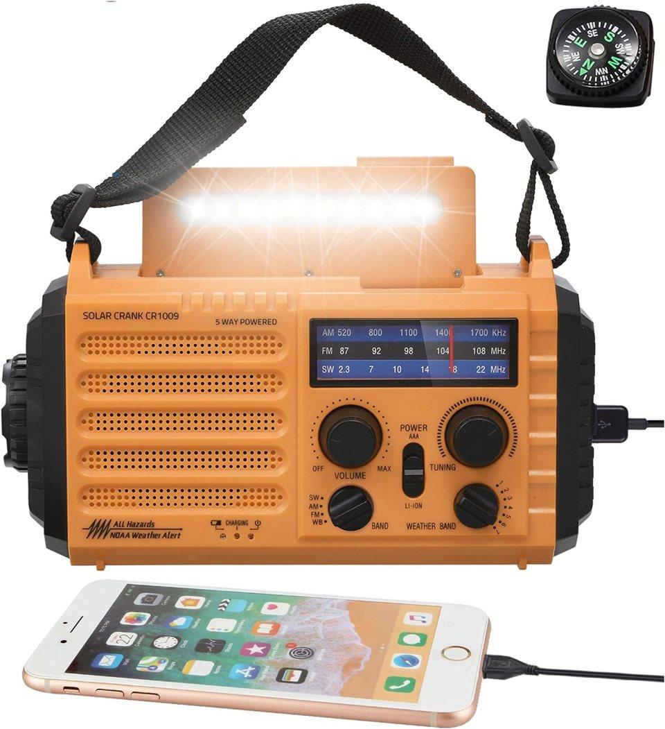 5-Way Powered Solar Hand Crank NOAA Weather Alert Radio