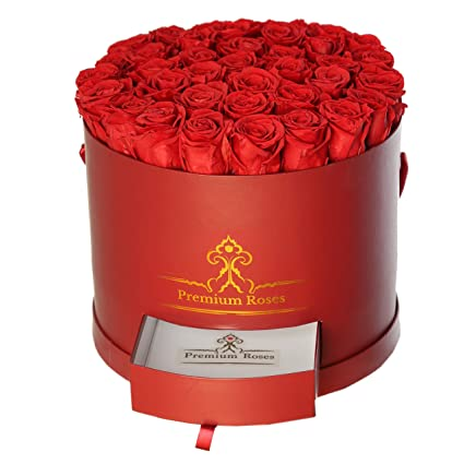 Amazon.com : Premium Roses| Real Roses That Last a Year | Fresh Flowers|  Roses in a Box (Burgundy Box, Large) : Grocery & Gourmet Food