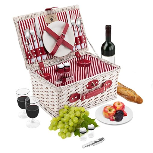 Wicker Picnic Basket Set | 2 Person Deluxe Vintage Style Woven Willow Picnic Hamper | Ceramic Plates, Stainless Steel Silverware, Wine Glasses, S/P Shakers, Bottle Opener, Summer Picnic Kit (White)