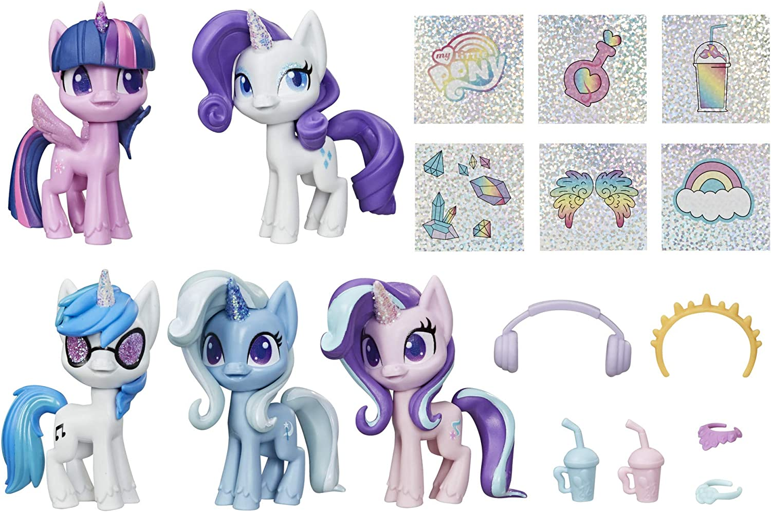 Amazon Com My Little Pony Unicorn Sparkle Collection Set Of 5 Toy Pony 3 Inch Figures With Glittery Unicorn Horns And 12 Surprise Accessories Toys Games