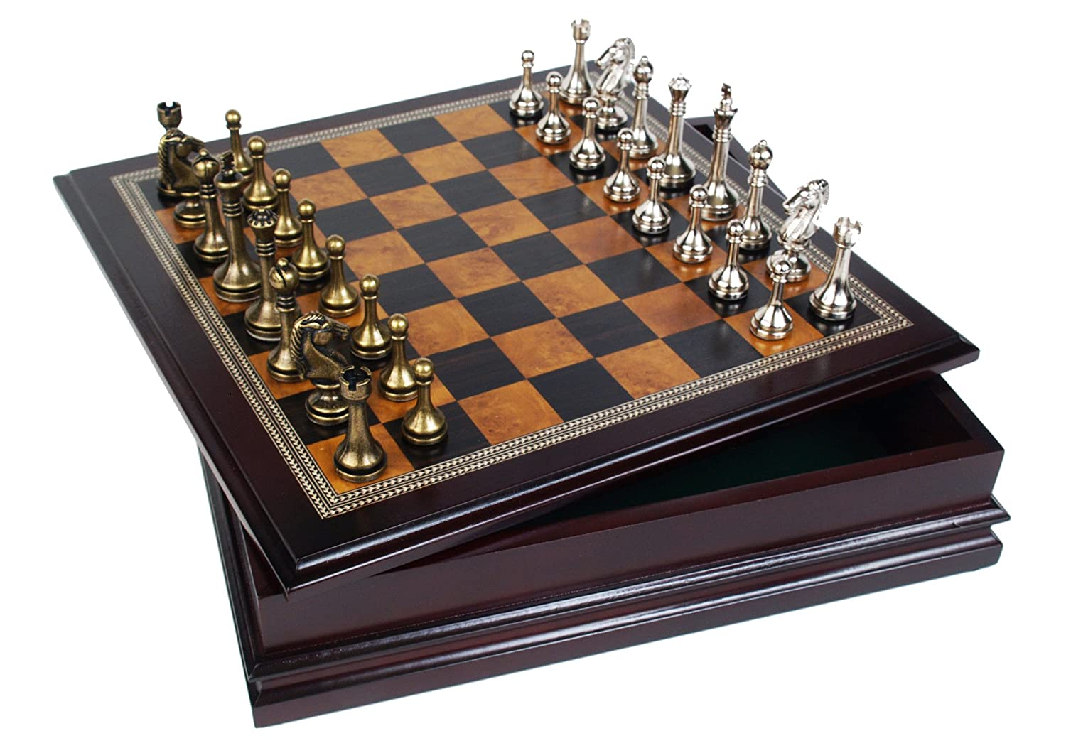 Classic Game Collection Metal Chess Set With Deluxe Wood Board and Storage