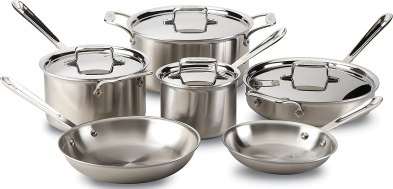 All-Clad Brushed D5 Stainless Cookware Set, Pots and Pans, 5-Ply Stainless Steel, Professional Grade, 10-Piece - 8400001085