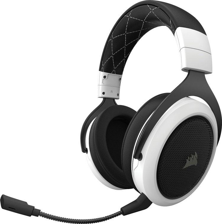 Corsair HS70 WIRELESS - Auriculares inalámbricos para juegos (sonido envolvente 7.1, con micrófono desmontable, para PC/PS4), color blanco