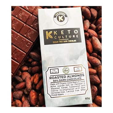 The Keto Culture - Roasted Almonds - Sugar Free - Dark Chocolate - 60%  Cacao - Sweetened with Stevia - Indian Craft Sugar Free Chocolate (1):  Amazon.in: Grocery & Gourmet Foods