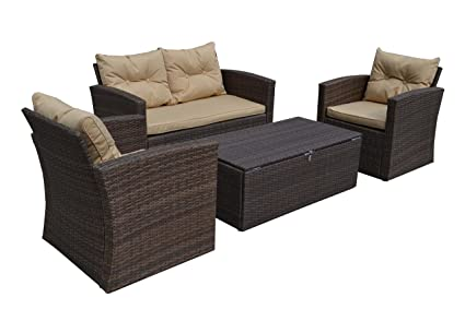 Baxton Studio Wholesale Interiors Imperia Modern And Contemporary Pe Rattan  Piece Outdoor Loveseat And Chairs