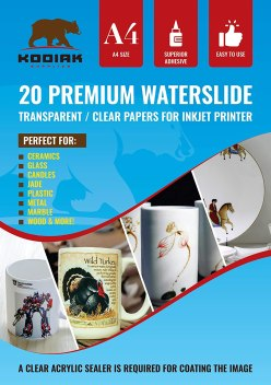 Kodiac Supplies Clear Waterslide Decal Paper