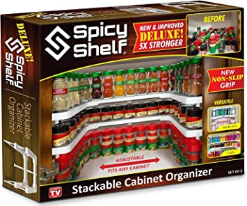 Spicy Shelf Deluxe - Expandable Spice Rack and Stackable Cabinet & Pantry Organizer
