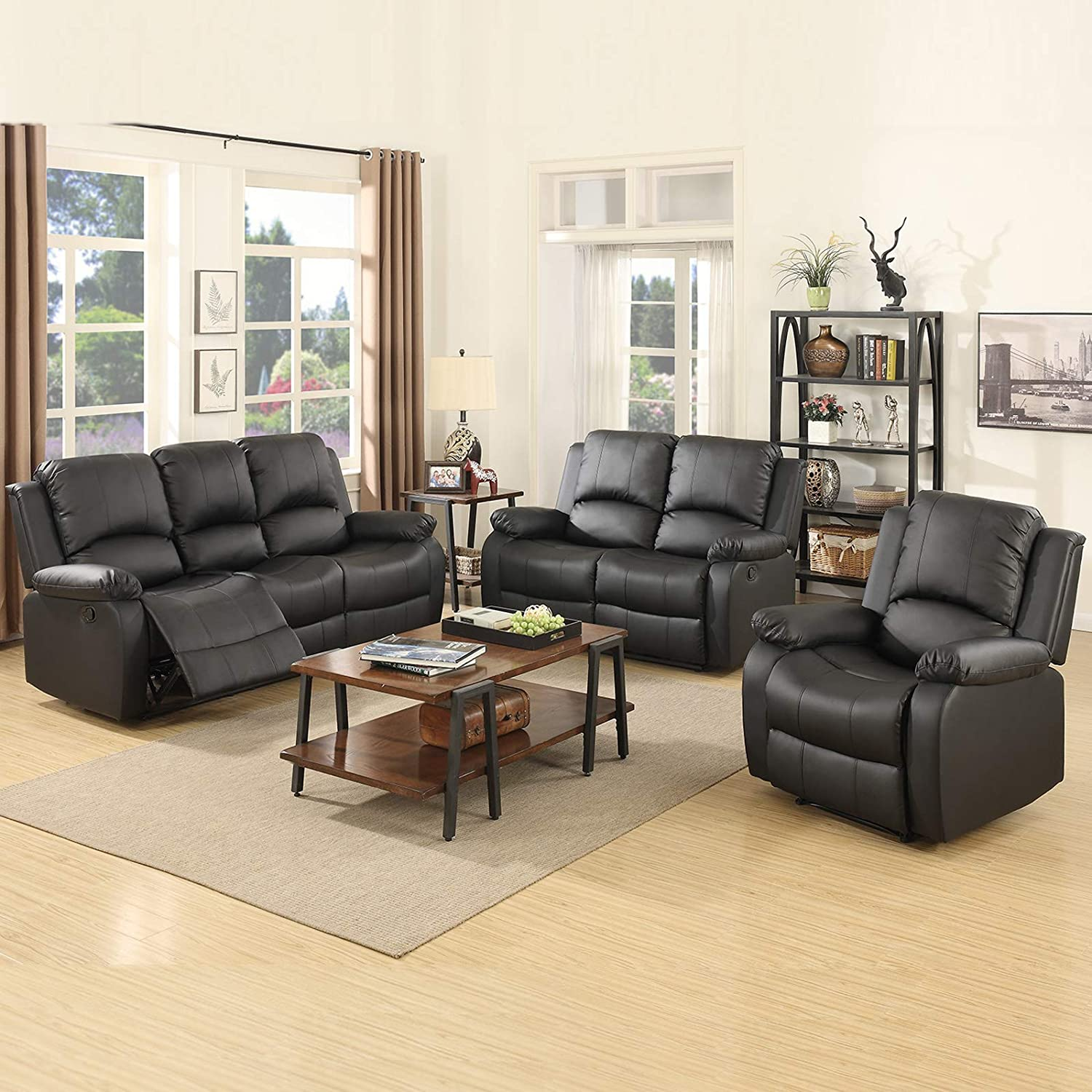 Amazon Com Mecor 3 Piece Sofa Set Bonded Leather Motion Sofa Reclining Sofa Chair Living Room Furniture With 3 Seat Sofa Loveseat And Recliner Chair Black Furniture Decor
