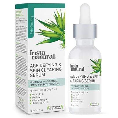InstaNatural Vitamin C Anti Aging Skin Clearing Serum - Wrinkle, Cystic Acne, Fine Line, Pigmentation, Pore Minimizer & Dark Spot Corrector for Face - Retinol, Hyaluronic, & Salicylic Acid - 1oz