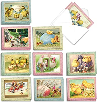 Amazon Com The Best Card Company 20 Vintage Easter Cards With Envelopes 4 X 5 12 Inch Cute Retro Note Cards For Easter Springtime Chicks Am3196eag B2x10 Office Products