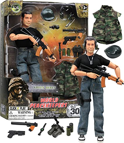 Amazon Com Click N Play Military Green Beret Elite Swat Unit 12 Action Figure Play Set With Accessories Toys Games