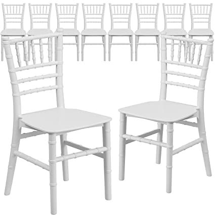 Amazon Com Flash Furniture  Pk Kids White Resin Chiavari Chair Kitchen Dining
