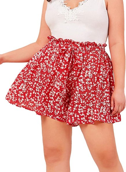 Milumia Women's Boho Floral Print Summer Vacation High Waisted Belted Wide Leg Shorts