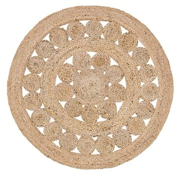 VHC Brands Coastal Farmhouse Flooring - Celeste Tan Round Jute Rug, 3' Diameter
