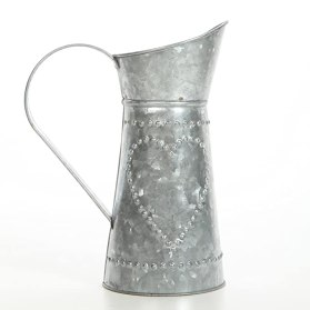 "Hosley 9.25"" High Galvanized Decorative Pitcher. Ideal for Home, Wedding, Country Living, Garden Decor. O4"
