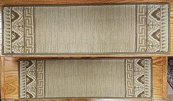 Amazon Com European Border Wool Stair Treads By Rug Depot Light | Stair Carpet With Border | Stairway | Design | Stair Runner Matching Landing | Runner | Cream