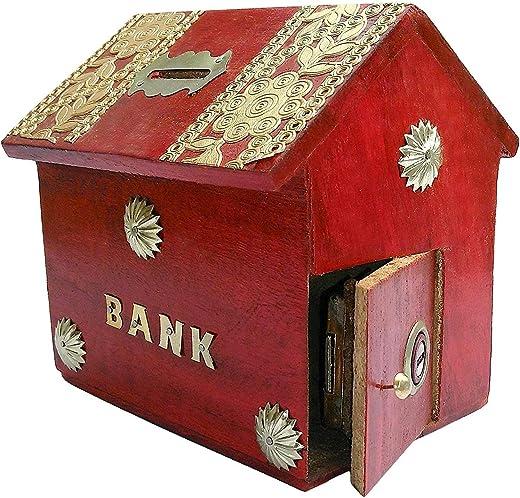 A S Handicrafts Wooden Money Bank - Coin Saving Box - Piggy Bank - Gifts for Kids, Girls, Boys & Adults