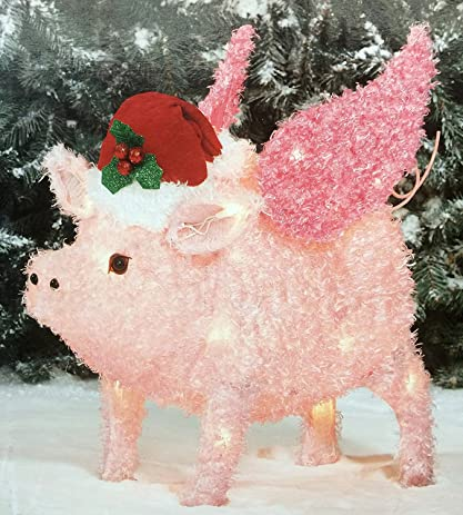 Flying Pig Yard Décor Light Up Christmas Decoration By Holiday Time 2