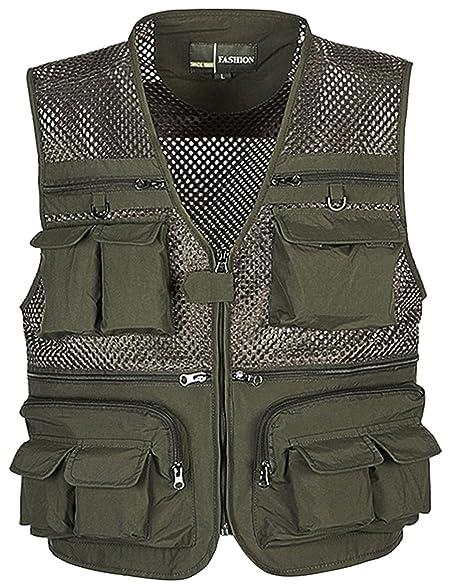 Flygo Men's Outdoor Mesh Fishing Travel Photo Safari Work Vest 16 Pockets Khaki
