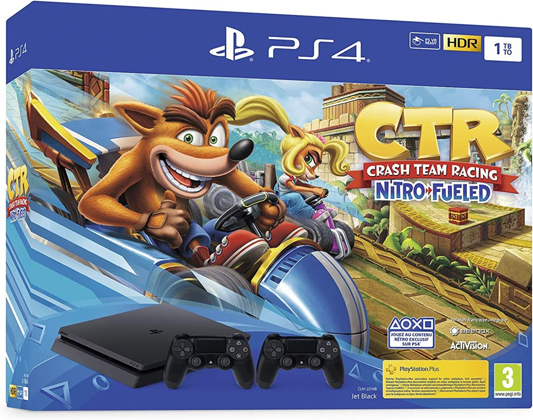 Sony PlayStation 4 Slim 1 To + Crash Team Racing, Avec 2 manettes sans fil DUALSHOCK 4 V2, Châssis F, Noir (Jet Black)