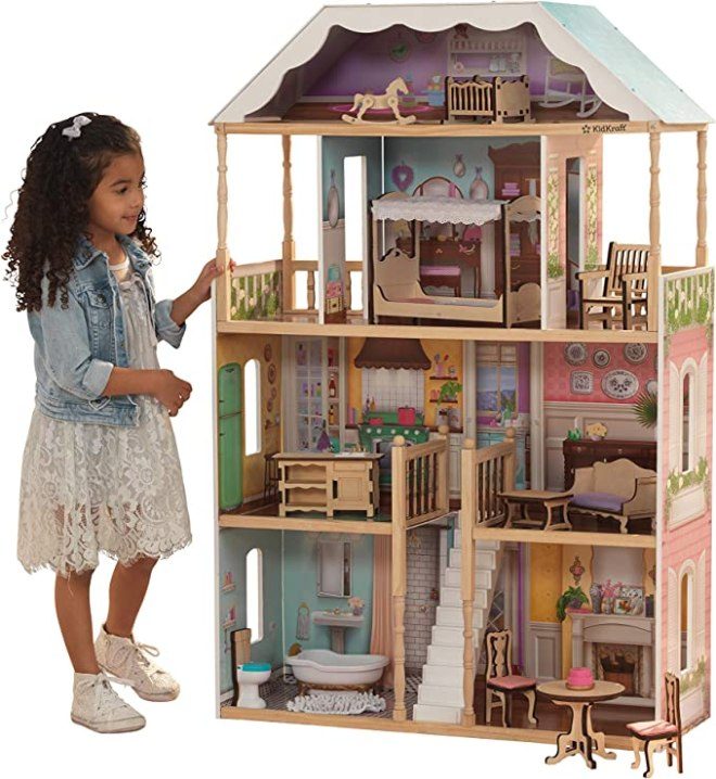 KidKraft KidKraft Charlotte Classic Wooden Dollhouse with EZ Kraft Assembly, 14-Piece Accessory Set, for 12-Inch Dolls ,Gift for Ages 3+
