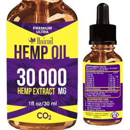 Hemp Oil Drops 30 000mg, 100% Pure Natural Ingredients, Co2 Extracted, Helps with Pain, Vegan Vegetarian Friendly