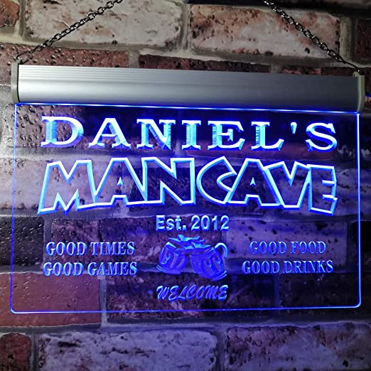 Amazon Com Advpro X0012 Tm B Man Cave Bar Custom Personalized Your Name Established Date Led Neon Sign Blue 16x12 Inches Home Kitchen