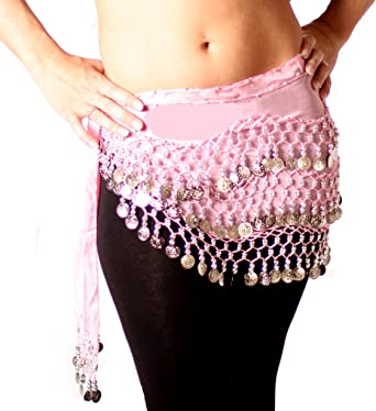 Light Pink Belly Dance Hip Scarf at Amazon Women's Clothing store