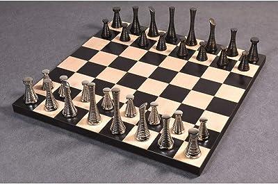 "RoyalChessMall - 3.9"" Modern Brass Metal Luxury Chess Pieces Only Set- Silver & Antique Chessmen"