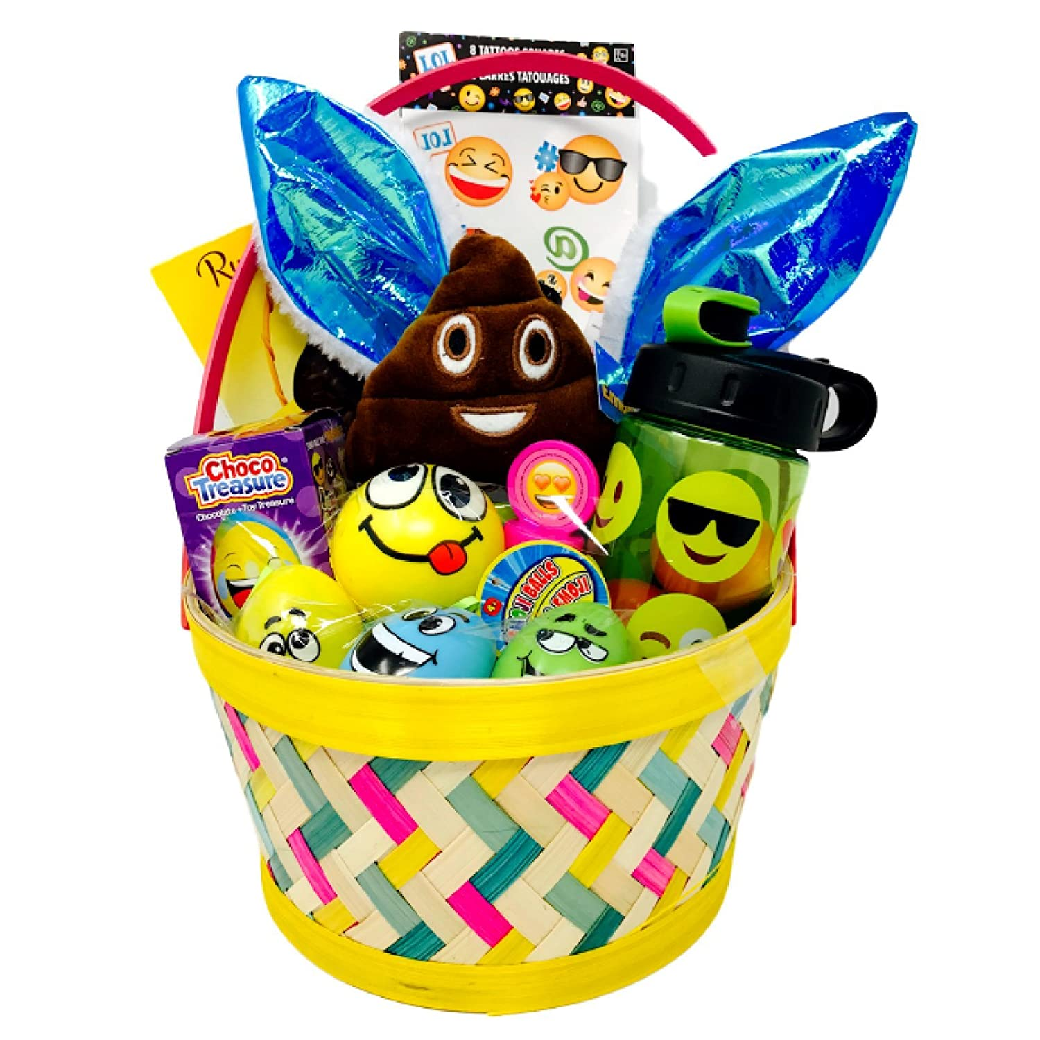 Pre-filled Smiley Easter Basket for Kids 20 Pieces Ready to Give for Emoji Fun!
