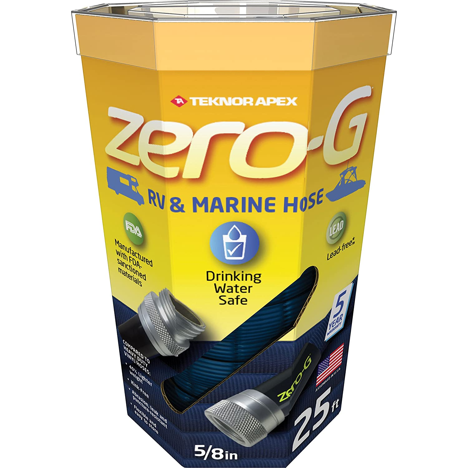 Teknor Apex Zero-G Hose A rare Drinking water approved collapsable hose – we use these RV/Marine hoses to fill our fresh water tanks and scrub the decks. Super easy to store.