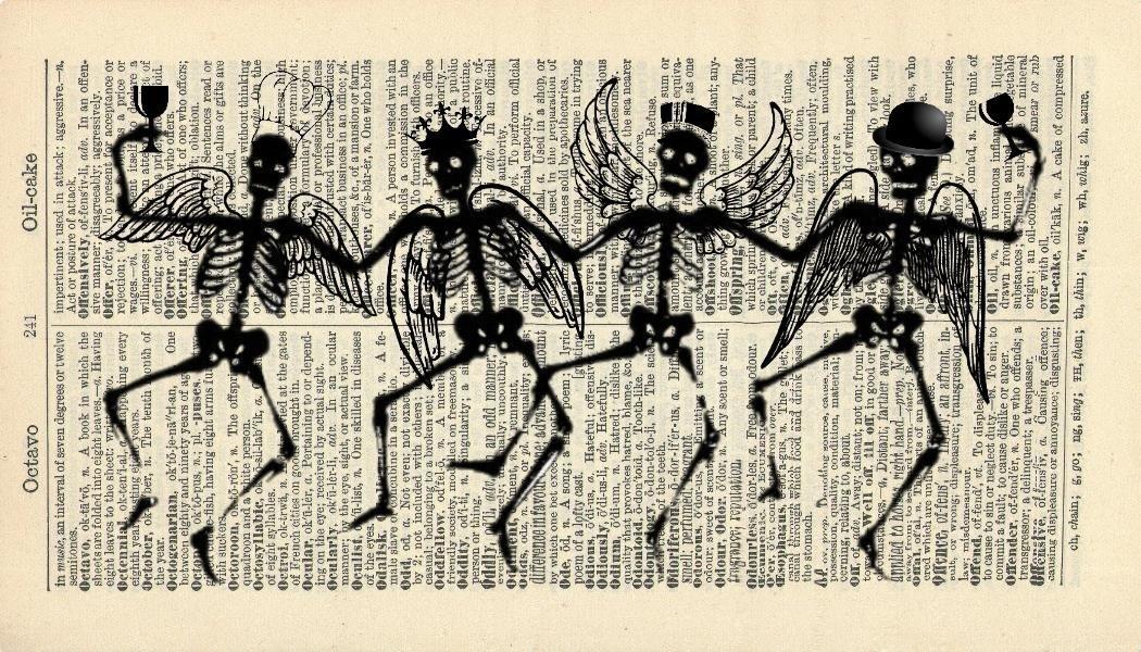 Amazon Com Halloween Art Print Skeleton Party Vintage Art Print Art Print Illustration Vintage Dictionary Art Print Home Decor Housewares Book Print 285b Handmade
