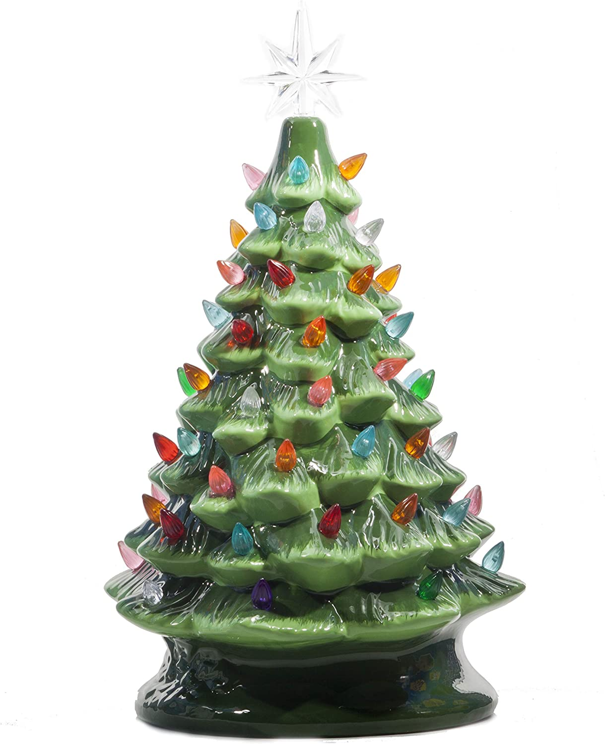 Amazon Com Relive Christmas Is Forever Lighted Tabletop Ceramic Tree 16 Inch Green Tree With Multicolored Lights Home Kitchen