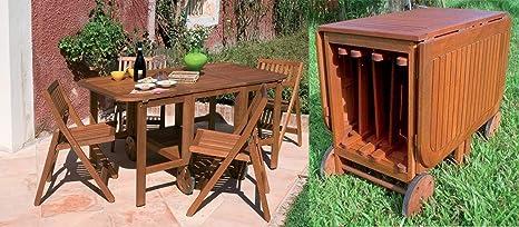 Set Tavolo Da Esterno Giardino In Legno Con 4 Sedie Richiudibili Allinterno Con Ruote