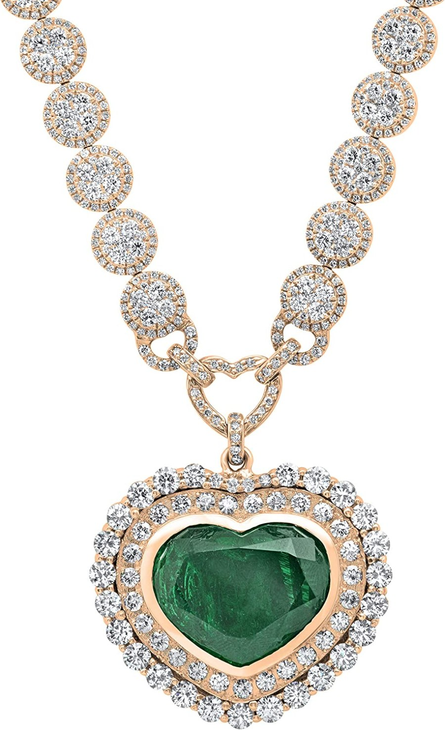 Dazzlingrock Collection Heart Colombian Emerald & Round White Diamond Ladies Halo Style Necklace, White Diamond G Color; VS Clarity; Available in 10K/14K/18K Gold