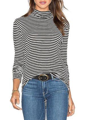 ZJCT Women Turtleneck Top Stripes Tee Casual Blouses Long Sleeve T Shirts S